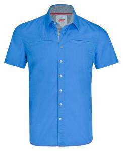 szwalnie warszawa iokolice niebieska koszulka zkrótkim rękawkiem ikołnierzykiem