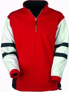 szwalnia odzieży reklamowej czerwona bluza zbiałymi rękawami
