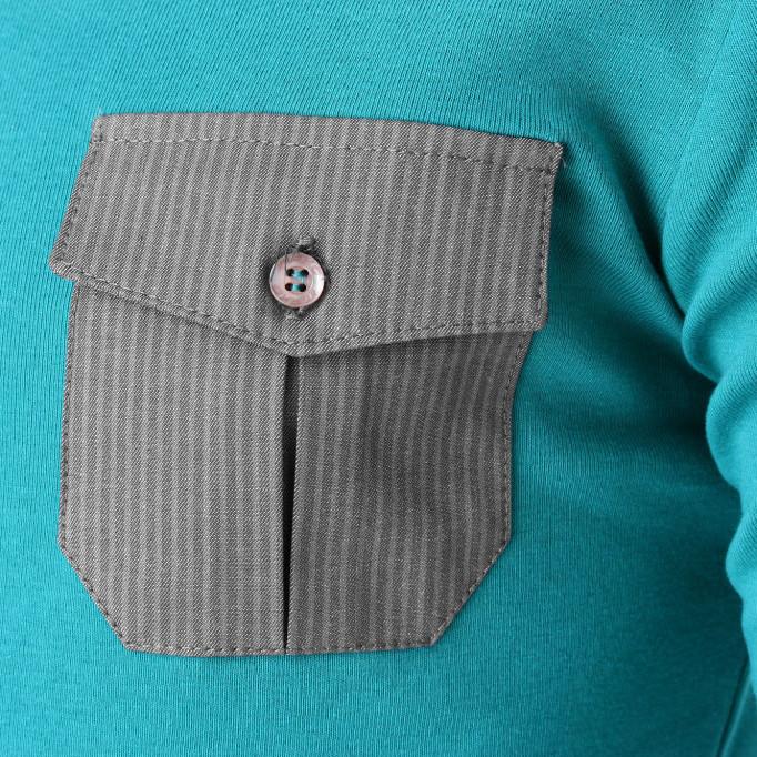 producent odzieży warszawa seledynowa koszulka zszarą kieszenią